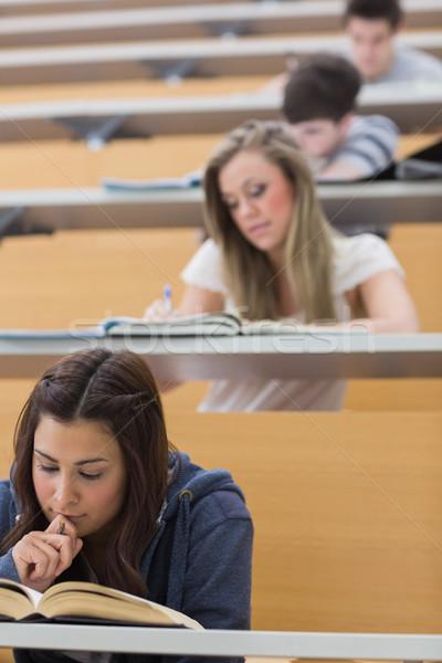 Studentów posiedzenia wykład sali nauki papieru Zdjęcia stock © wavebreak_media