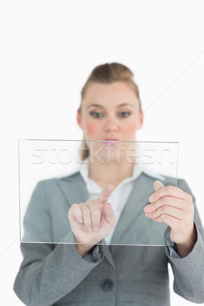 Işkadını dokunmak cam slayt takım elbise kadın Stok fotoğraf © wavebreak_media