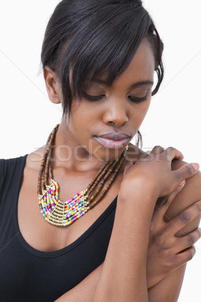 Stockfoto: Vrouw · Tribal · stijl · ketting · witte