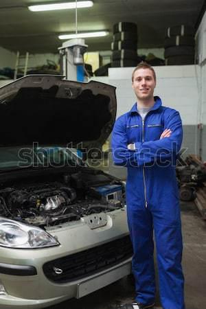 Foto stock: Mecánico · coche · batería · retrato · masculina