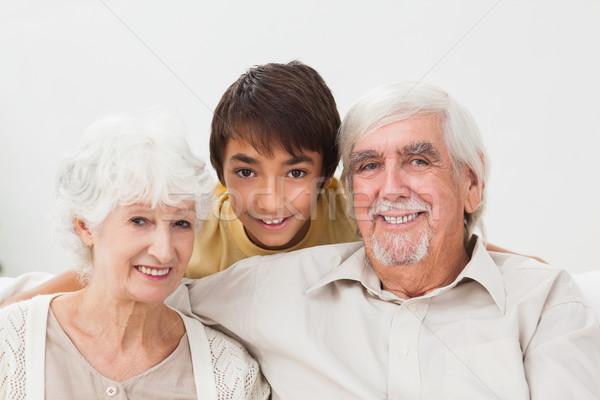 Nagyszülők unoka kanapé ház szeretet férfi Stock fotó © wavebreak_media