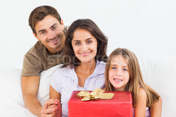 Parents offering a gift to their daughter Stock photo © wavebreak_media