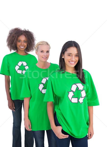 Drie glimlachend permanente lijn vrouw gelukkig Stockfoto © wavebreak_media