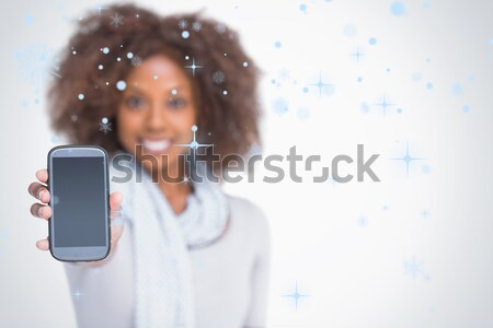Photo stock: Femme · afro · smartphone · blanche