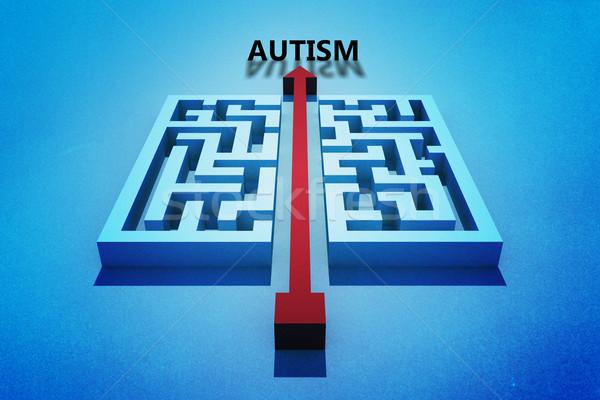 Afbeelding autisme Rood pijl Stockfoto © wavebreak_media