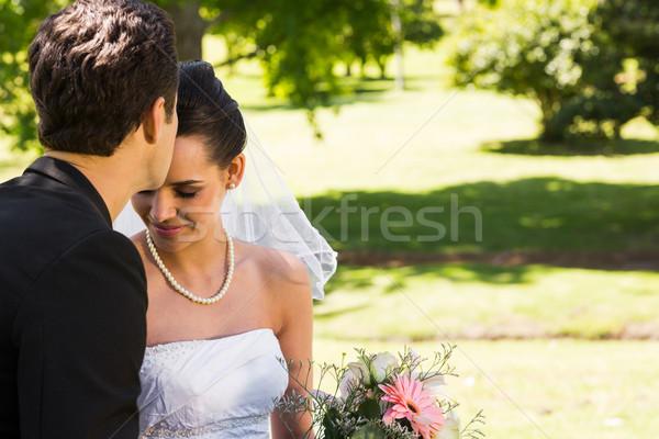 Bruidegom zoenen mooie bruid park Stockfoto © wavebreak_media