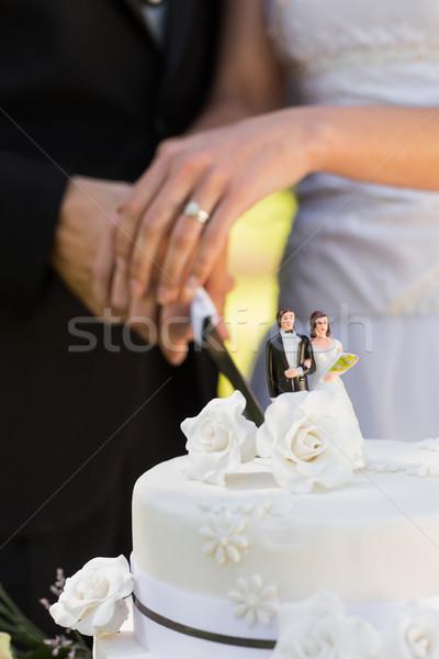 Newlywed wedding cake estrema primo piano Foto d'archivio © wavebreak_media