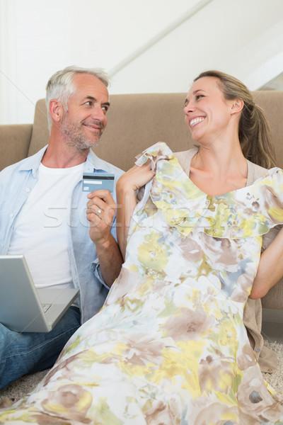 ストックフォト: 幸せ · カップル · ショッピング · を · ソファ · ホーム