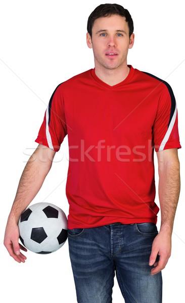 Foto stock: Fútbol · ventilador · rojo · pelota · blanco