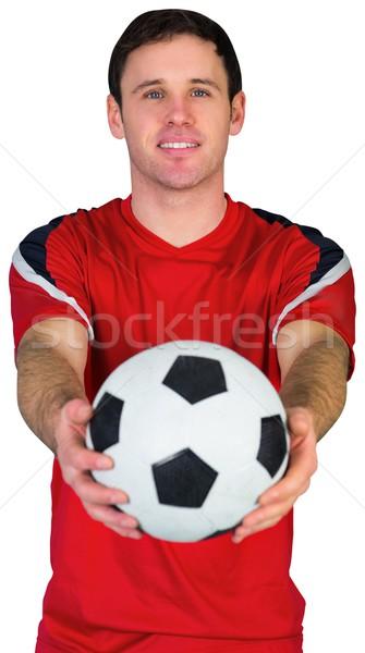 Fútbol ventilador rojo pelota blanco Foto stock © wavebreak_media