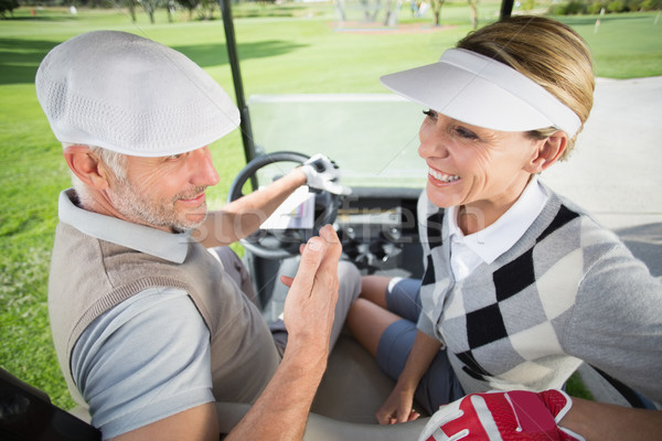Golfing couple smiling at each other in their golf buggy Stock photo © wavebreak_media