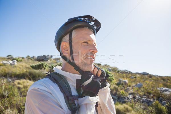 Fitt kerékpáros sisak pánt vidék terep Stock fotó © wavebreak_media