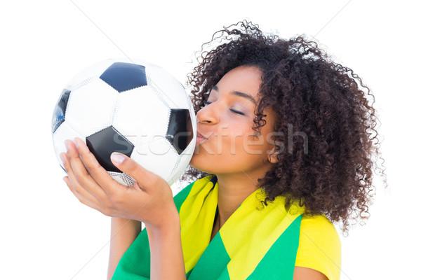 Csinos futball ventillátor zászló csók labda Stock fotó © wavebreak_media