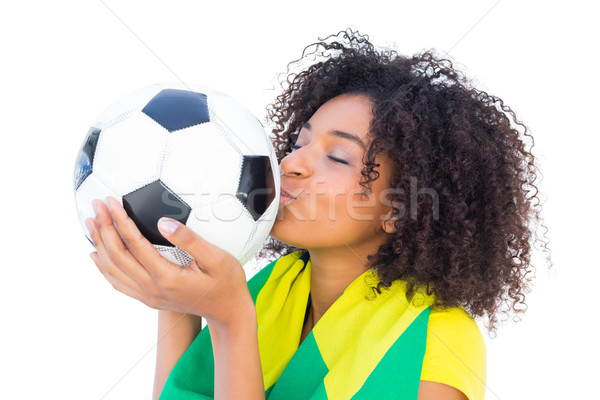 Bella calcio fan bandiera bacio palla Foto d'archivio © wavebreak_media
