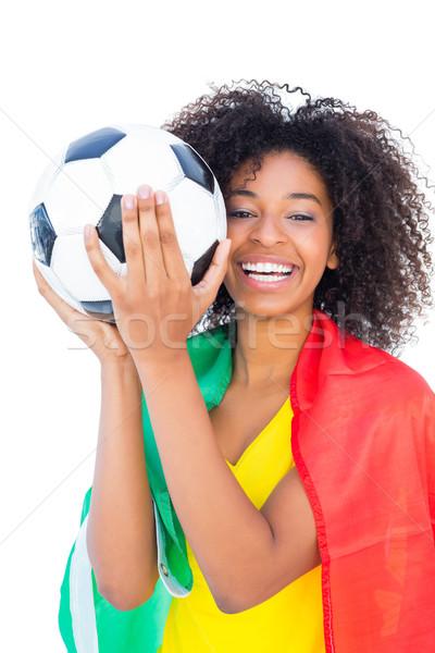 Stock fotó: Csinos · futball · ventillátor · Portugália · zászló · tart