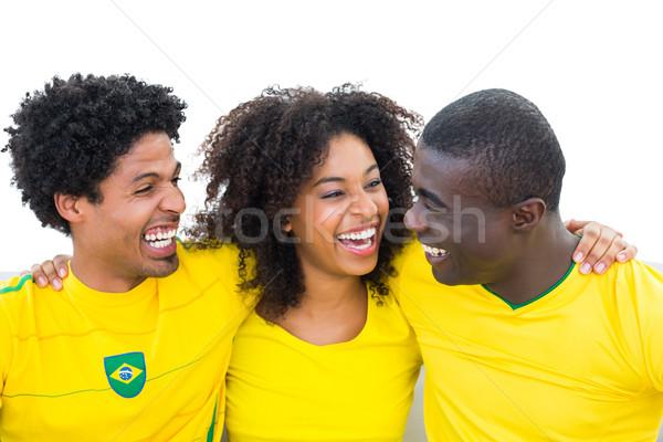 Mutlu futbol fanlar sarı gülen diğer Stok fotoğraf © wavebreak_media
