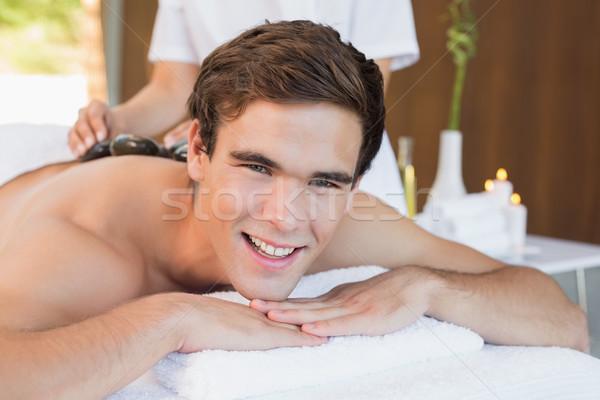 Bell'uomo pietra massaggio spa centro Foto d'archivio © wavebreak_media
