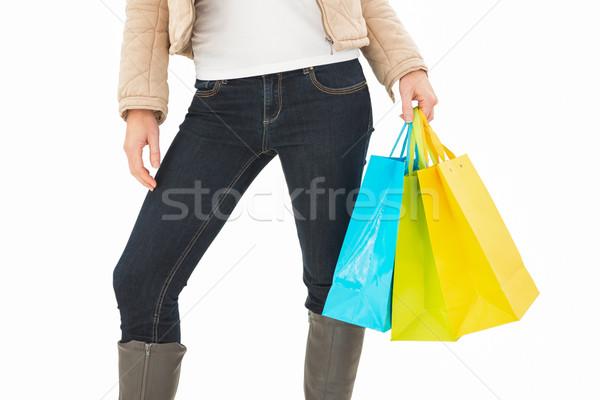 Stock fotó: Középső · rész · nő · tart · bevásárlótáskák · fehér · női