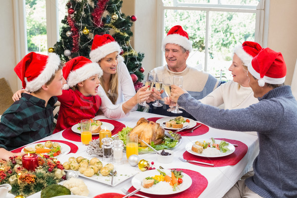 Többgenerációs család mikulás kalap pirít egyéb otthon Stock fotó © wavebreak_media