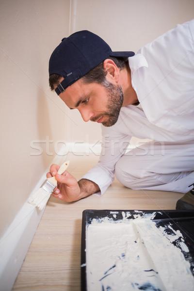 Pintor pintura paredes branco casa Foto stock © wavebreak_media