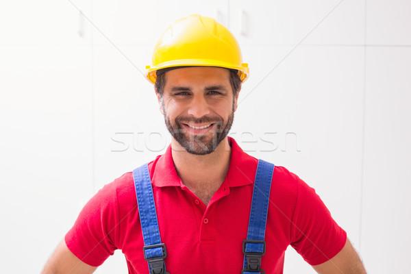 Bouwvakker glimlachend camera huis man Stockfoto © wavebreak_media