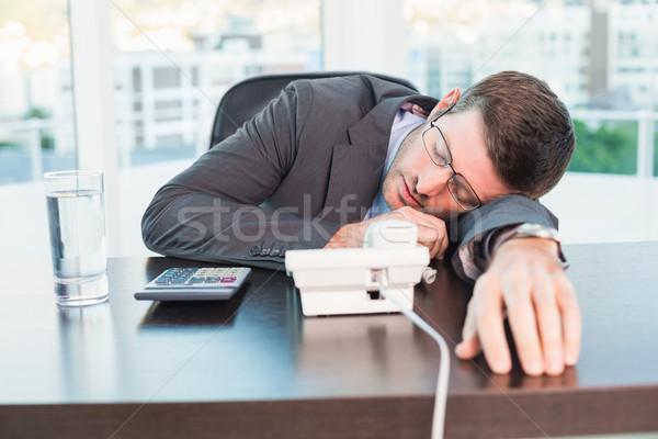 Bitkin işadamı uyku büro ofis adam Stok fotoğraf © wavebreak_media