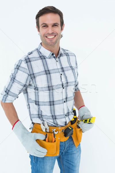 Technikus tart szellem szint portré fehér Stock fotó © wavebreak_media