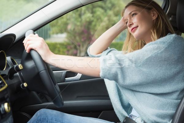 Genç kadın gülen araba kadın pencere taşıma Stok fotoğraf © wavebreak_media
