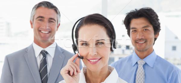 Businesswoman wearing her headset Stock photo © wavebreak_media