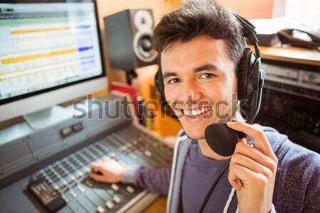 ストックフォト: 肖像 · 大学生 · オーディオ · スタジオ · ラジオ · 幸せ