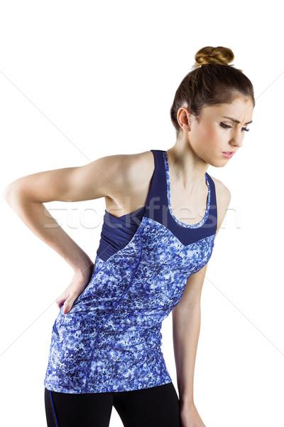 Geschikt brunette Maakt een reservekopie letsel witte gezondheid Stockfoto © wavebreak_media