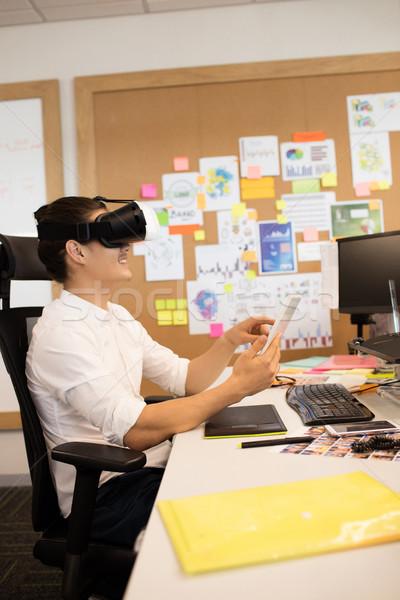 ストックフォト: ビジネスマン · 着用 · 眼鏡 · オフィス · 創造 · コンピュータ