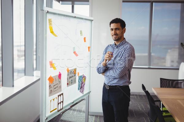 Portrait of smiling executive standing near whiteboard Stock photo © wavebreak_media