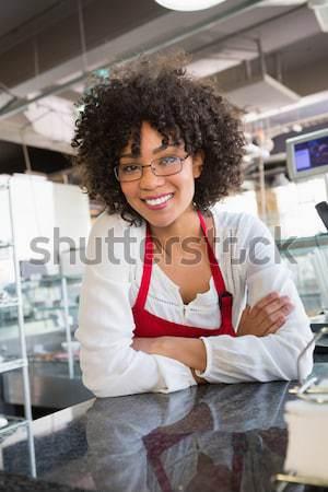 Pincérnő áll kezek pult étterem üveg Stock fotó © wavebreak_media
