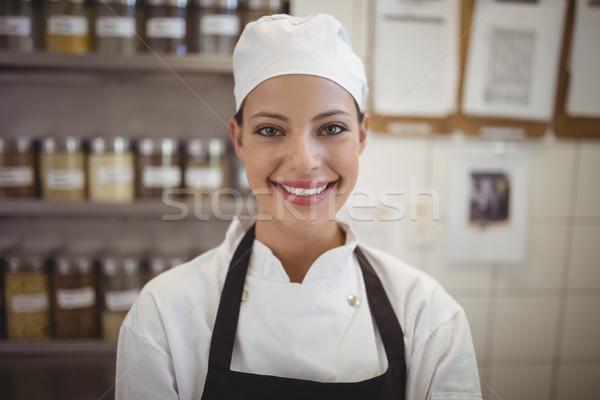 Kobiet kucharz stałego handlowych kuchnia portret Zdjęcia stock © wavebreak_media