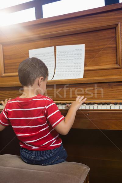 вид сзади друга играет фортепиано сидят Сток-фото © wavebreak_media