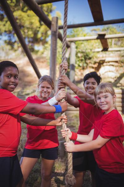 Dzieci liny szkolenia boot Zdjęcia stock © wavebreak_media