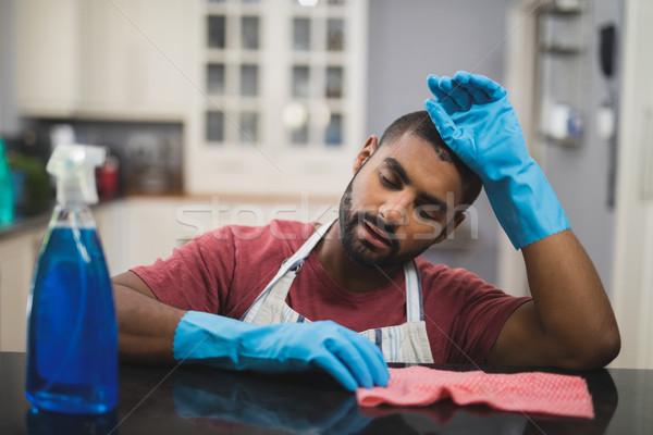 累 男子 大理石 對付 廚房 商業照片 © wavebreak_media