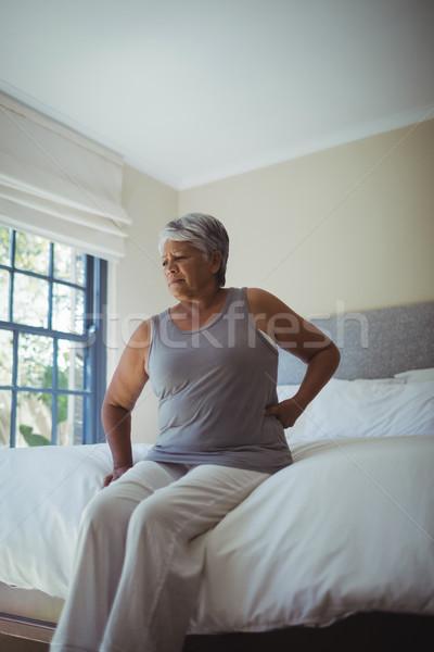 Idős nő szenvedés hátfájás otthon ül Stock fotó © wavebreak_media
