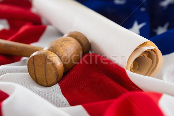 Stockfoto: Hamer · document · Amerikaanse · vlag · achtergrond · vlag