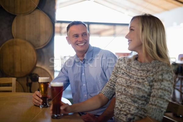 Stock fotó: Pár · egyéb · sör · bár · mosolyog · férfi