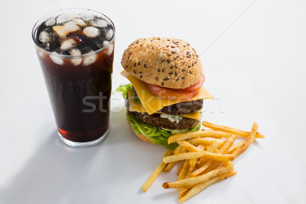 Cheeseburger beber branco vidro preto Foto stock © wavebreak_media