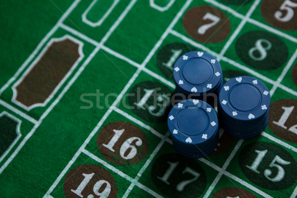 High angle view of blue chips on table Stock photo © wavebreak_media