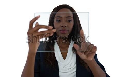 деловая женщина прикасаться невидимый экране белый Сток-фото © wavebreak_media