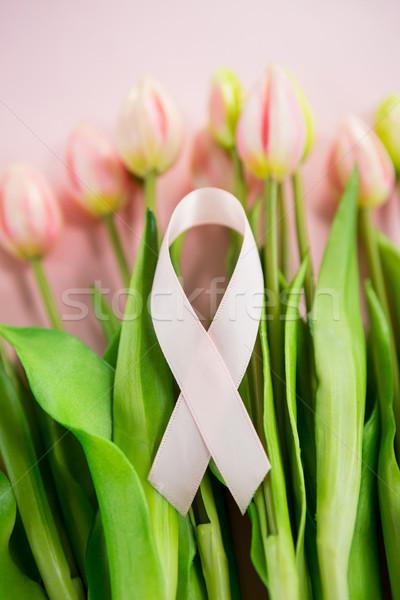 Magasról fotózva kilátás mellrák tudatosság szalag tulipán Stock fotó © wavebreak_media