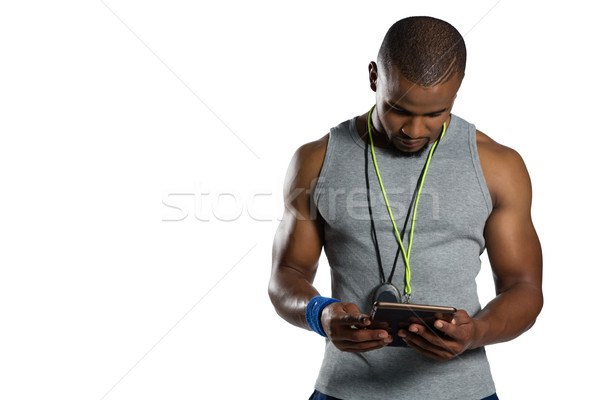 Masculina rugby instructor digital tableta pie Foto stock © wavebreak_media