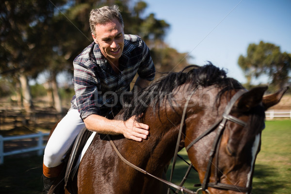 Homme équitation cheval ranch arbre Photo stock © wavebreak_media