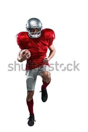 Full length of American football player in red jersey running Stock photo © wavebreak_media