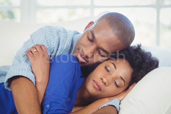 Huzurlu çift uyku kanepe kadın mutlu Stok fotoğraf © wavebreak_media
