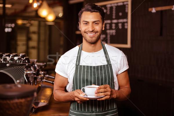 Gülen barista kahve kafe gıda Stok fotoğraf © wavebreak_media